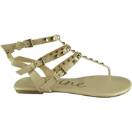 """""""TONKS"""" Nude Studded Strappy Gladiator Sandals"""