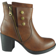 """""""CHLOE"""" Camel Zip Office Work Casual Ankle Boots"""