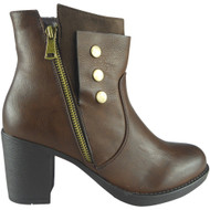 """""""CHLOE""""Brown Zip Office Work Casual Ankle Boots"""