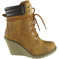 """ERLINE"" Camel  Lace Up High Top Wedge Heel Ankle Boots"