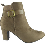 """EVERILD"" Khaki  Buckle Strap  Party  Ankle Boots"