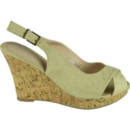"""""""GYPSY"""" Beige Faux Suede Ankle Strap High Wedge Heel Sandals"""