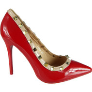 """ATHELA"" Red Studded High Stiletto Heel Party Court Shoes"