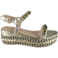 """""""CEDRICA"""" Gold Studded Ankle Strap  Wedge Sandals"""