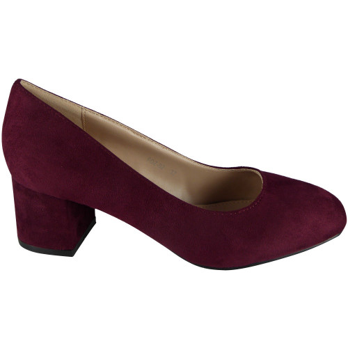 5c2d64d16df ... Wine Faux Suede Low Chunky Heel Court Shoes. Image 1