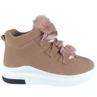 """Pakpao"" Pink High Hi Top Lace Up Flat Pumps Trainers"