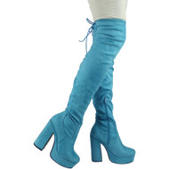 Cai Blue High Heel Platform Boots