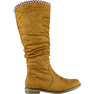 Dawn Camel Rouched Mid Calf Boots