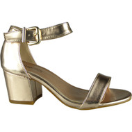 """HERTHA"" Rose Gold Metallic Ankle Strap Sandals"