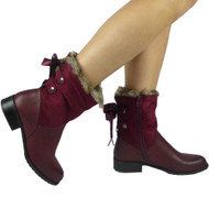 Lodema Wine Fur Lining Ribbon Boots