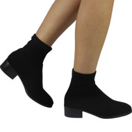 """AIKIN"" Black Pull On Cuban Heel Ankle Boots"