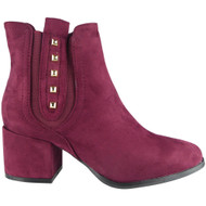 """AISFORD"" Wine Cuban Heel Zip Stud Ankle Boots"