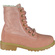 """ALDYS"" Pink Lace Up Fur Lining Cuban Heel Ankle Boots"