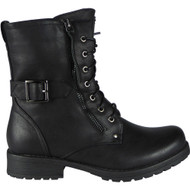 Oletha Black Buckle Strap Zip Boots