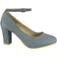 """CORLISS"" Grey Ankle Strap Block Heel Court Shoes"