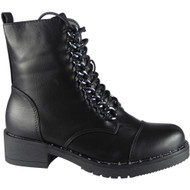 Yetta Black Chain Lace Up Boots