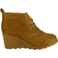 Waverly Camel Lace Up Wedge Boots