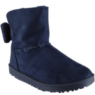"""TYLER"" Blue Faux Fur Flat Warm Ankle Boots"