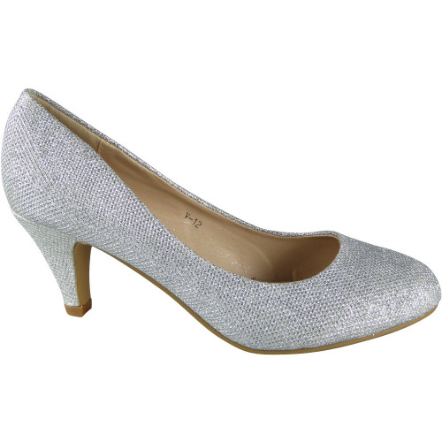 827ea92368cb ... Silver Glitter Mid Heels Court Shoes. Image 1