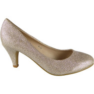 """EMILY"" Champagne Glitter Mid Heels Court Shoes"