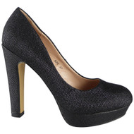 """GEORGIA"" Black Glitter High Heel Court Shoes"