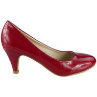 """Nina"" Red Shiny Casual Court Shoes"