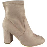 """""""ECRU"""" Pink Faux Suede Ankle Boots"""