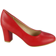 Tilly Red Mid Block Heel Court Shoes