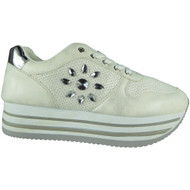Rosemary Silver Wedges Lace Up Trainers