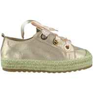 Mabel Champagne Ribbon Lace up Trainers