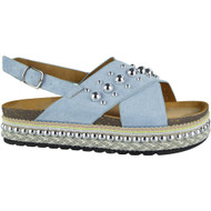 Breinne Blue Espadrilles Sling Back Sandals