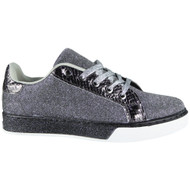 Clarice Black Flat Lace Up Trainers