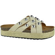 Danita Beige Slip On Espadrilles Slippers