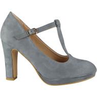 Dawna Grey High Heel T-Bar Court Shoes