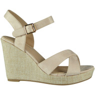 Earline Beige High Heel Wedge Sandals