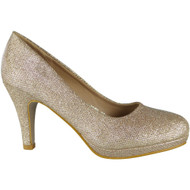 Enid Gold Glitter Court Shoes