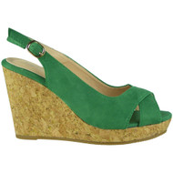 Isabel Green Platform Wedge Sandals