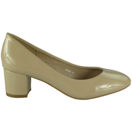 Daphne Beige Mid Heel Patent Court Shoes