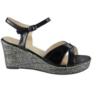 Bess Black Peep Toes Wedges Party Sandals