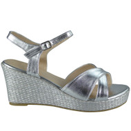 Bess Silver Peep Toes Wedges Party Sandals