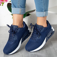 AILEEN Navy Lace Up Trainers