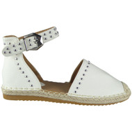 Savannah White Studded Ankle Strap Espadrilles