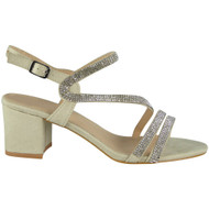 Kenzie Beige Diamante Heel Sandals