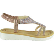 Londyn Champagne Peep toe Strap Wedge Sandals