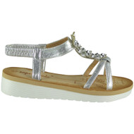 Mckinley Silver Elastic Strap Comfy Sandals