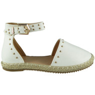 ANNY White Ankle Strap Studded Sandals