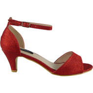 Sloane Red Glitter Peep Toe Sandals