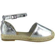 Louise Silver Ankle Strap Studded Sandals