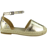 Louise Gold Ankle Strap Studded Sandals