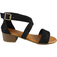 Nalani Black Peep Toe Buckle Sandals